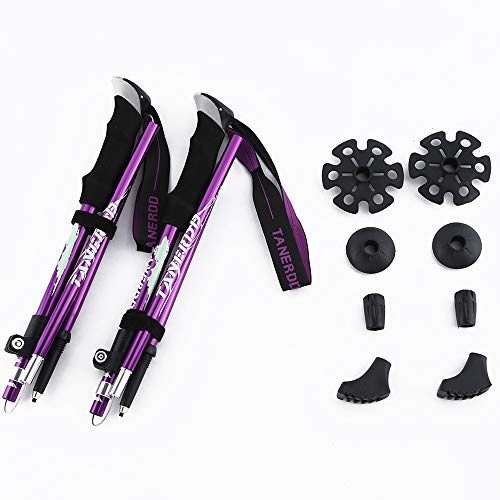 KWNRAOR Trekking Poles,Collapsible Hiking Trekking Sticks with Quick Lock System 7075 Aluminum EVA Grip Handle for Mountaining, Camping, Backpacking (Purple)