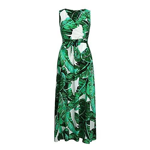 FWJSDPZ Vestido sin mangas para mujer, talla grande, estampado de hojas verdes, tropicales, vestidos vintage, cuello en V, gasa, con cinturón, color verde, talla 4XL)