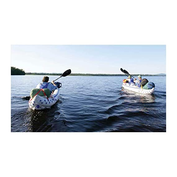 """Sea eagle 370 pro 3 person inflatable portable sport kayak canoe boat w/ paddles 6 3 person/650 lb capacity, weighs 32 lbs, suitable for up to class iii whitewater 370 deluxe kayak package features two movable, super comfortable deluxe kayak seats for improved back support and 2 paddles, foot pump, and carry bag 2 ab30 7'10"""""""" 4 part paddles with asymmetrical blade and aluminum shaft"""