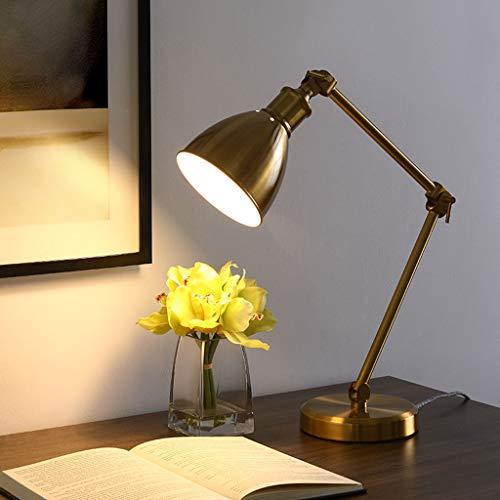 Vast LED Bronzen bureaulamp, creatief verstelbare leeslamp, klassieke studielamp, nachtkastje met E27 lamp oogbescherming 212
