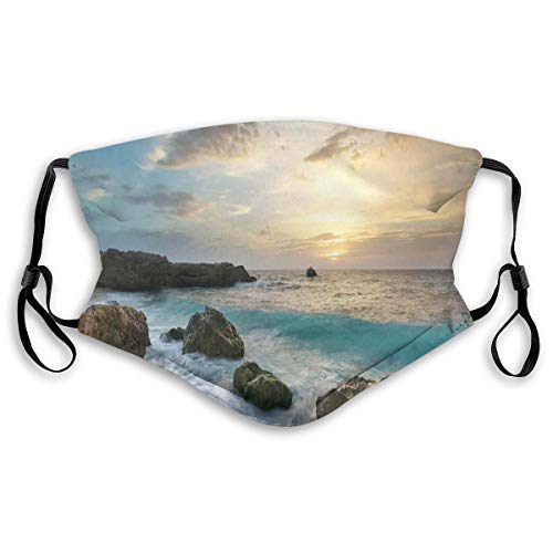 Multifuncional Summer Scarf, Bandana, Mouth Cover para mujer, Seascape Composition of Nature Rocks Waves Cloudy Sky Rising Sun Beach Photo,Elastic, Dust- and Smog-proof Washable, transpirable