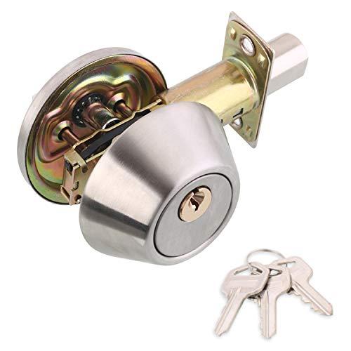 CPH20 Juego de pomos para puerta con 3 llaves, mango de privacidad para dormitorio, baño, cerradura de acero inoxidable pulido, manija de puerta interior con cerradura