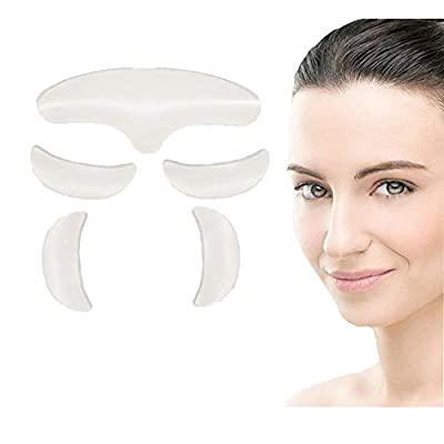 PHCOMRICH 5 in 1 Forehead & Eyes Silicone Anti Wrinkle Pads,Reusable 100% Medical Grade Silicone Decollete Eye Pads for Wrinkles and Fine Lines from PHCOMRICH