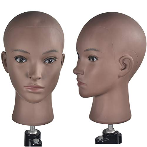 Training Head Cosmetology Mannequin Head Professional Bald Manikin Head for Wigs Making and Display Doll Head with Free Clamp