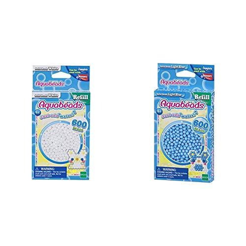 Aquabeads 32638 Perlen weiß & 32558 Perlen Bastelperlen nachfüllen hellblau