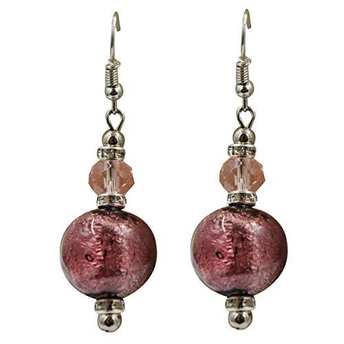 Priann Gioielli - Pendientes de mujer con perlas de cristal de Murano originales, fabricados con hoja de oro de 24 quilates o plata 925, fabricados en Italia Rosa