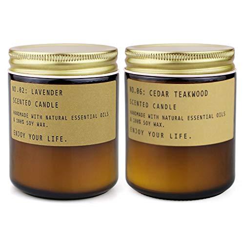 Duftkerzen im Glas Aromatherapie zu Hause Natürliche SojawachsKerzen Geschenkset 100 Stunden Brenndauer für Bad Spa Meditation Entspannendes Muttertagsgeschenk für Frauen(Retro 2 Groß Edler Holzduft)