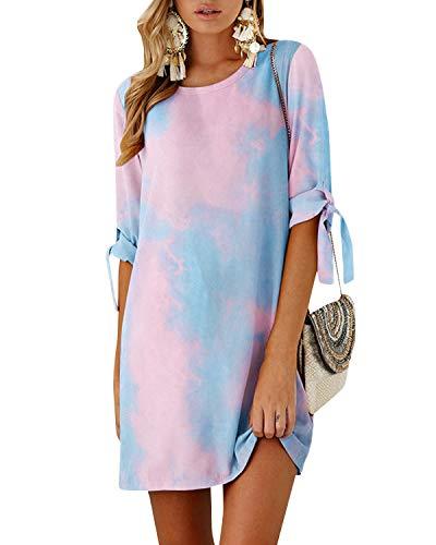 YOINS Damen Kleider Tshirt Kleid Sommerkleid für Damen Rundhals Brautkleid Langarm Minikleid Kleid Langes Shirt Lose Tunika mit Bowknot Ärmeln Tie-Dye-blau S