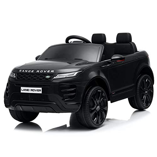 Kids Ride On Cars with Remote Control, 12V Licensed Range Rover Electric Vehicle with Bluetooth, MP3, Radio, LED Lights, Openable Doors, Four Wheels Spring Suspension, Black