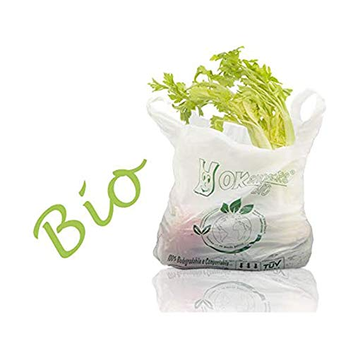 VIRSUS Buste Biodegradabili Compostabili 27+7+7x50cm Sacchetti da 500 Pezzi. Shopper Spesa biodegradabili, Busta per Alimenti, Sacchetti Biodegradabili per Umido (27+7+7x50)