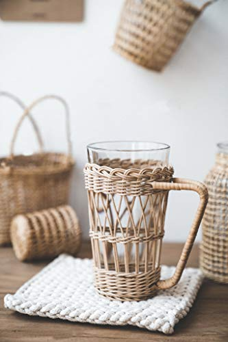 RISEON Vintage Rustic Hand-Woven Bamboo Rattan Cup Holder Coasters Drink Holder Stand Clear Glass Cup Holder with Handle for Coffee Tea Boho Home Decor Gift (Glass Cup Included)