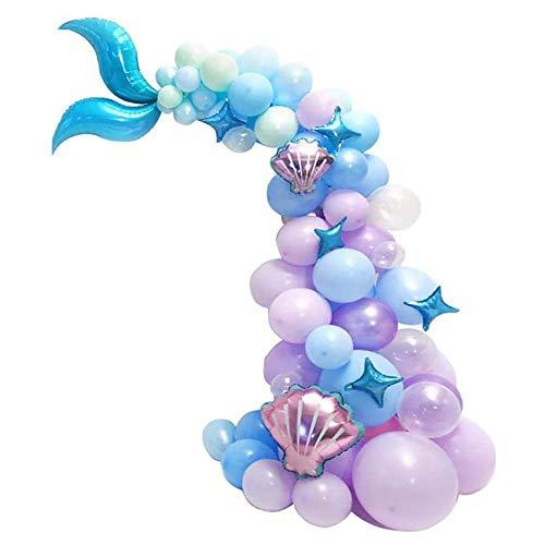YRA 87 piezas de cola de sirena globo guirnalda arco sirena tema decoración fiesta cumpleaños suministros bajo el mar pequeños globos de sirena