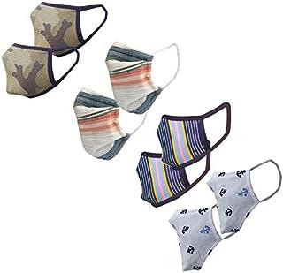 Cotton Cloth pack of 8 Face Mask Washable Reusable Face Masks Soft Earloop/Mouth Nose Cover face masks Men Women Kids Unis...