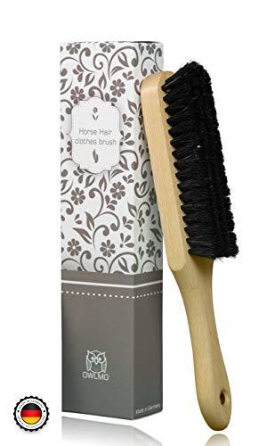 Práctico cepillo de crin Owlmo® para ropa con mango, agujero para colgar, madera de haya con lacado de protección, 25x 4cm, ecológico, embalaje respetuoso con el medio ambiente