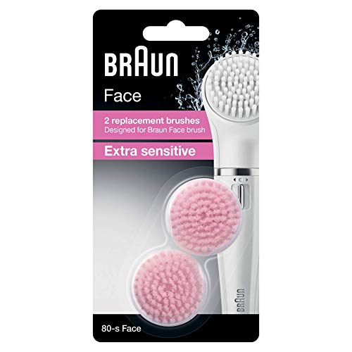 Braun Face Ersatzbürsten Extra Sensitiv 80-s, für Braun Gesichtsreinigungsgeräte, 2 Stück