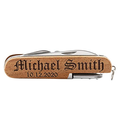 Personalized Pocket Knife, Personalized 8-Function Multi-Tool Pocket Knife, Custom Knives, Engraved Names, Groomsmen Gift, Gift for Him