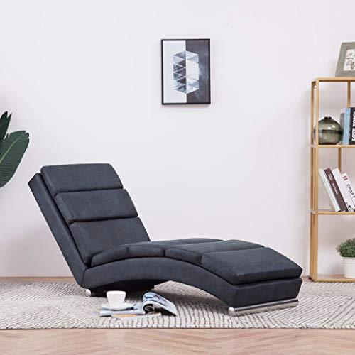Festnight Relaxliege Liegesessel | Lounge Liege Chaiselongue | Wohnzimmer Liegestuhl Relaxsessel in Wildleder-Optik, Grau
