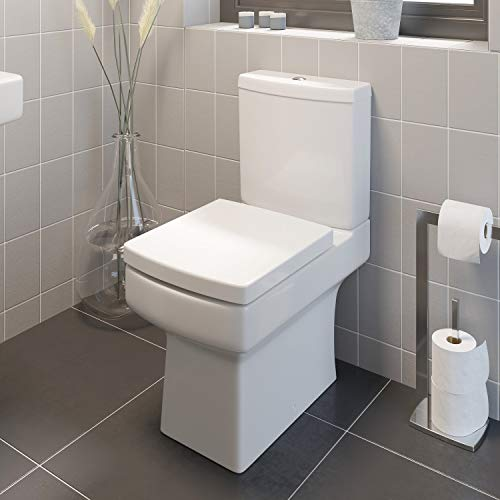 Modern Bathroom Square Toilet Close Coupled WC Soft Close Seat Short Projection Bathroom Cloakroom White Gloss