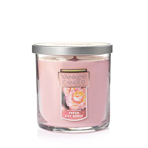 Yankee Candle Small Tumbler Jar Candle|Fresh Cut Roses Scented Candle|Premium Paraffin Grade Candle Wax with up to 55 Hour Burn Time
