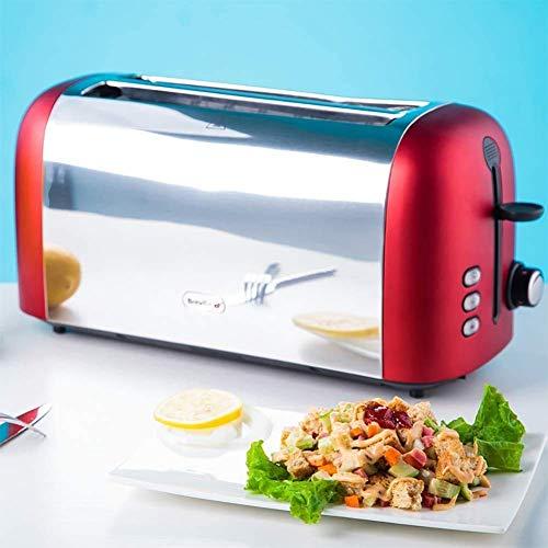 LHQ-HQ Automatyczny tost ze stali nierdzewnej, 2 toster na plasterki z 6 ustawieniami cienia chleba i bardzo szerokimi szczelinami, rozmrażanie/funkcja anulowania/podgrzewania, zdejmowana taca na okruchy, czerwona lxhff (kolor: czerwony)