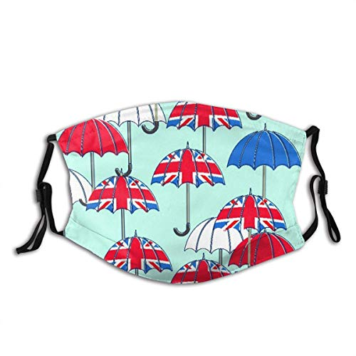 Face Cover Seamless Pattern with Umbrellas and Union Jacks, with Clipping Path Balaclava Unisex Reusable Windproof Anti-Dust Mouth Bandanas Outdoor Camping Motorcycle Running