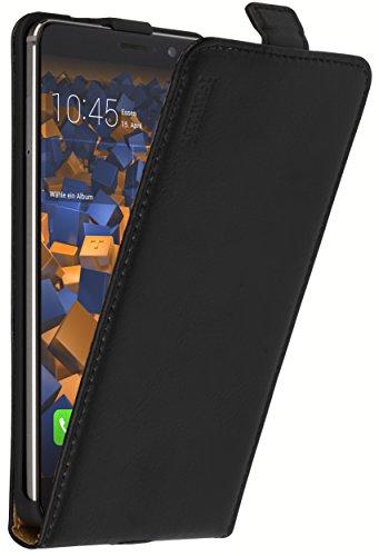 mumbi Echt Leder Flip Hülle kompatibel mit Huawei Mate 9 Hülle Leder Tasche Hülle Wallet, schwarz