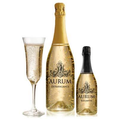 AURUM Champagner mit echten Blattgold-Flocken 24 Karat mit Geschenkverpackung - Perfekt zum Geburtstag, weihnachtsgeschenke für männer und frauen (Halbtrocken, 0.75 l)