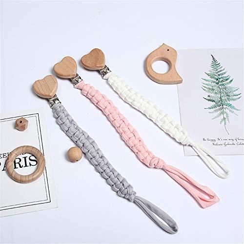 3 Stück Baby Schnullerkette Clip, Unisex-Schnullerketten für Baby mit Kunststoff Clip Baumwolle Schnullerband Stoff für Lätzchen Dreieckstuch Sauger Schnuller (A1)