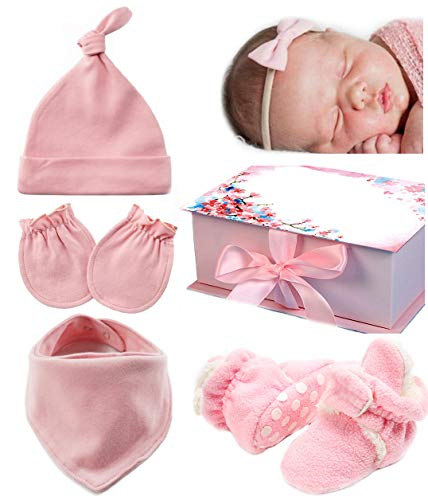 Baby Girls Newborn Gift Set of 6, Organic Cotton 0-6 Months Clothes Must Haves Bandana Bibs Infant Hat No Scratch Mittens Fleece Shoes Sock Slippers Booties Headband Bow Best Baby Shower Unique Gifts