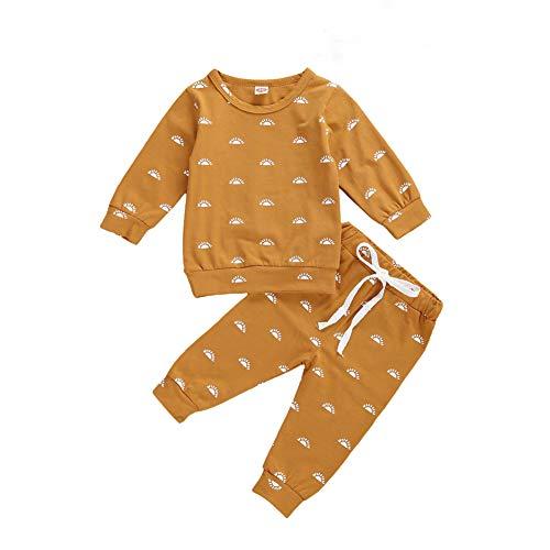 CiKiXZ Baby Set Gänseblümchen Langarmshirts Oberteile + Hose Neugeborene, Gr. 70 (0-6 Monate), Braun