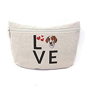 Custom Canvas Makeup Bag Love Hearts Ariege Pointer Dog School Supplies Pencil Tote Pouch 9x6 Inches Natural Design Only 16