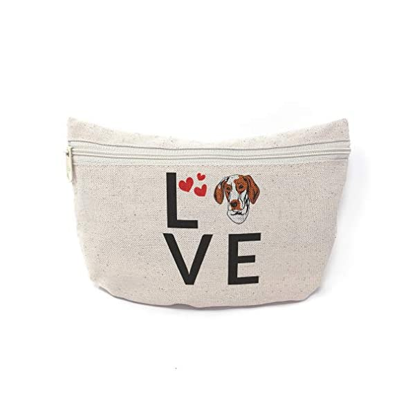 Custom Canvas Makeup Bag Love Hearts Ariege Pointer Dog School Supplies Pencil Tote Pouch 9x6 Inches Natural Design Only 1
