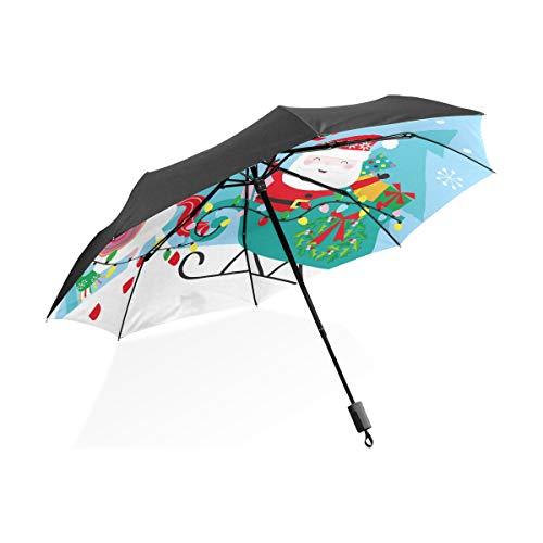 Weihnachts-Einhorn Weihnachtsmann und Schlitten Regenschirm, zusammenklappbar, winddicht und UV-Schutz
