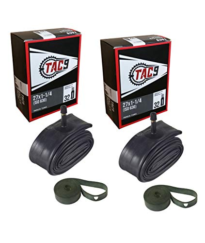 TAC 9 2 Pack Tube, 27' x 1-1/4' with Rim Strips, Regular Schrader Valve, 32mm