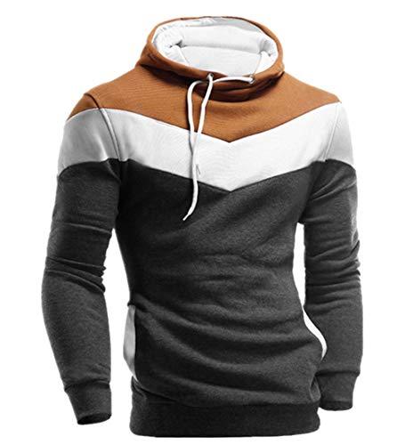 KPILP Männer Übergröße Herbst Winter Retro Patchwork Langarm-Shirt Hoodie Sweatshirt Oberteile Jacke Mantel Outwear(Dunkelgrau, M)