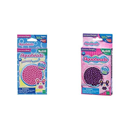 Aquabeads 32588 Perlen Bastelperlen nachfüllen pink & 32578 Perlen lila