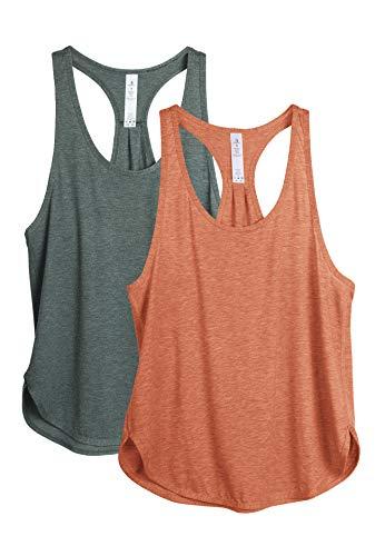 icyzone Camiseta sin Mangas de Fitness para Mujer Chaleco Deportivo, Pack de 2 (L, Humo de Pino/Dusty Orange)