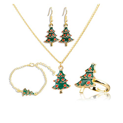 DSJTCH Europe and the United States new jewelry set Christmas tree drops oil necklace ear ring bracelet ring four-piece suit (Color : One size)