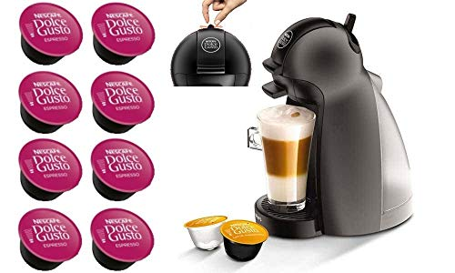 DOLCE GUSTO PICCOLO YY2283FD • Machine à café manuelle 15 bars • Cafetière expresso et autres boissons + 8 Capsules en cadeau (PICCOLO • Noir)