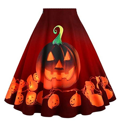 For Sale! Kiminana Women's Halloween Pumpkin Print High Waist Pleated Dress Plus Size 50S Petticoat ...