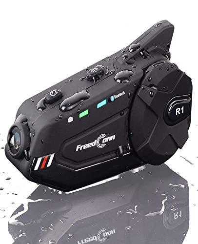 Motorcycle Helmet Headset with Camera FreedConn R1plus Bluetooth Intercom FM Radio 1000M 6 Riders Waterproof Wireless Communication Sysstems for Half- face & 3/4- face Helmet
