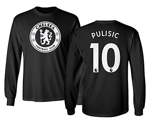 Spark Apparel London Blue #10 PULISIC Soccer Jersey Style Men's Long Sleeve T-Shirt (Black, Large)