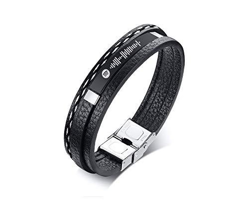 VNOX Personalised Spotify Song Code Leather Bracelet Music Spotify Code Bracelet Anniversary Wedding Birthday Valentine's Day Gift Idea for Boyfriend Girlfriend,20.5cm