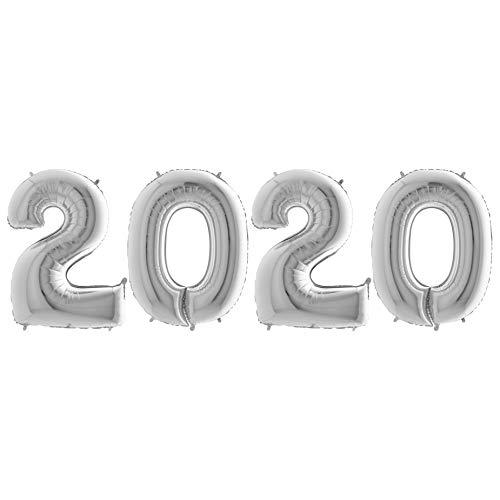 feiermeier® Ballon Zahl 2020 in Silber 101cm hoch - Party Geschenk Dekoration Folienballon Luftballon Silvester Jahreswechsel Abschluss EU Ware Schriftzug ca. 250x100cm