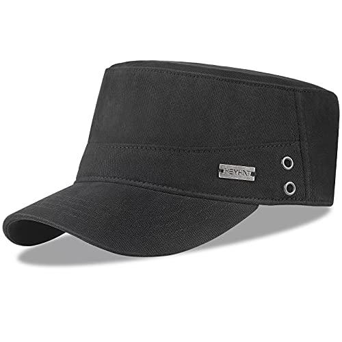 HASAGEI Army Cap Herren Military Cap Basecap Kappe Flat Top Hat Sonnnen Baseball Cap Mütze Verstellbar Vintage Baumwolle (Schwarz-Army Cap)