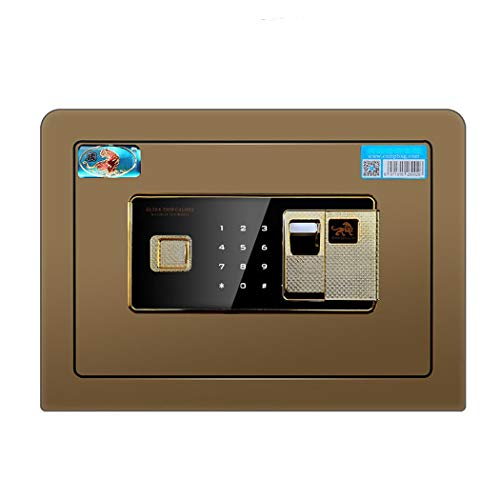 Beveiliging Kluis, 25Cm Steel Brandkast Van Het Huis Met Fingerprint Digital Elektronisch Slot, Wall of Kabinet Verankering Ontwerp Home Security Electronic Lock Box,Brown