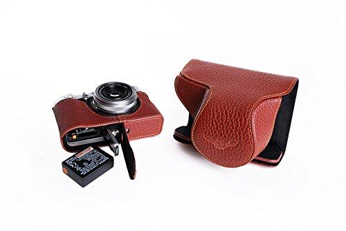 FUJIFILM 富士フイルム X100F用本革レンズカバー付カメラケース(電池,SDカード交換可) ブラック、ブラウン (レンズカバー付ケース&ストラップLK1881, ブラウン)
