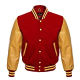 American Letterman Baseball School College Boy Varsity Jacket Real Leather & Wool 8 Colors (X-Small, Red/Gold)