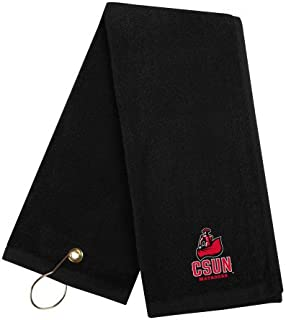 CollegeFanGear Cal State Northridge Black Golf Towel 'CSUN Matador'