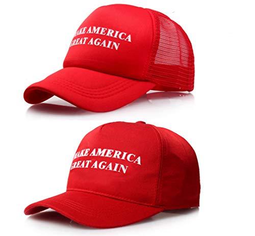 2 PCS Donald Trump Baseball Cap, Einstellbar Unisex Baseball Kappen, Make America Great Again Baseball Mütze, Einschließlich Mesh Cap und Baumwolle Cap, für Herren Damen Sport Hip Hop Party Kostüm